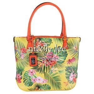 ⚡NWT⚡ Nicole Lee Yellow Tropical Palm Print Purse